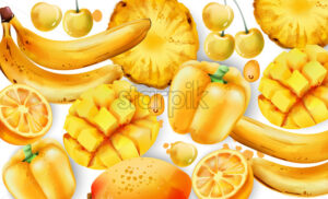 Composition of yellow fruits and vegetables. Mango, bell pepper, white cherry, pineapple, bananas, lemon Vector - Starpik Stock