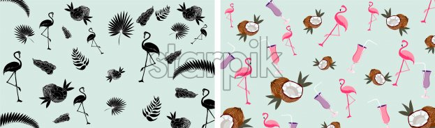 Composition with pink flamingo, coconut and cocktails. Vector - Starpik Stock