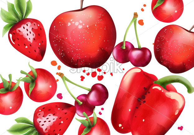 Composition with red fruits and vegetables. Cherry, strawberry, pepper. Vector - Starpik Stock