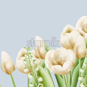 Cream buttercup and bell flowers with green leaves and stem. Watercolor Vector - Starpik Stock