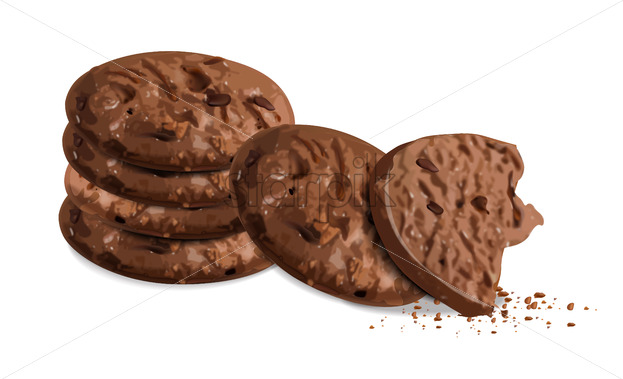 Crunchy chocolate cookies isolated vector realistic. 3d detailed dessert - Starpik Stock