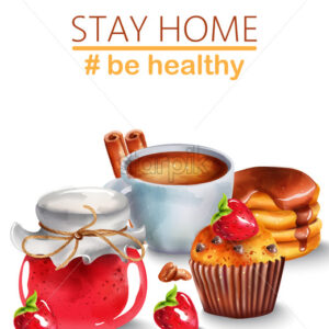 Cup of coffee with cinnamon, pancakes with syrup, raspberry jam and chocolate chip cupcake with a strawberry on top. Motivation to stay home and be healthy. Vector - Starpik Stock