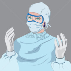 Doctor woman equipped Vector. Virus pandemic working medical stuff. Young woman wearing a disposables coverall with gloves, mask and eye protection glasses - Starpik Stock