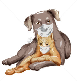 Dog and cat friends with disposable mask. Corona Virus among pets idea. Vector - Starpik Stock