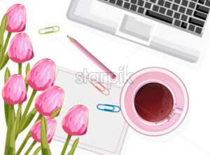 Dream designer workplace composition with rose tulip flowers, tea cup and pencil. Vector - Starpik Stock
