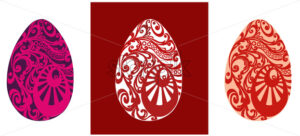 Easter eggs with red and pink oriental ornaments. Vector - Starpik Stock