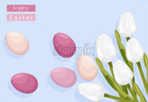 Easter eggs without decorations and white tulip flowers. Place for text. Vector - Starpik Stock