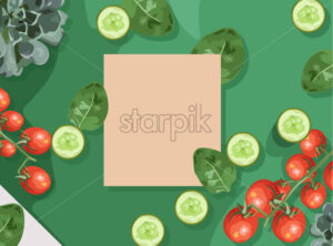 Ecological products composition with branch of red tomatoes, spinach and cucumbers. Place for text. Vector - Starpik Stock