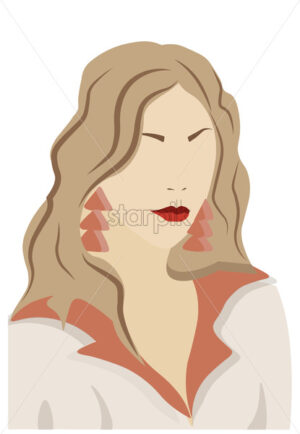 Elegant blonde young lady in hoodie with earrings. Red lips. Vector - Starpik Stock