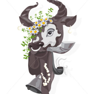 Elegant cow with camomile flowers in the head smoking a pipe. Vector - Starpik Stock