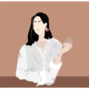 Elegant lady with glass of wine in hands. Wearing shirt and earrings. Beige background. Vector - Starpik Stock