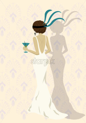 Elegant woman in a white dress holding a cup of martini. Oriental pattern on background. Vector - Starpik Stock