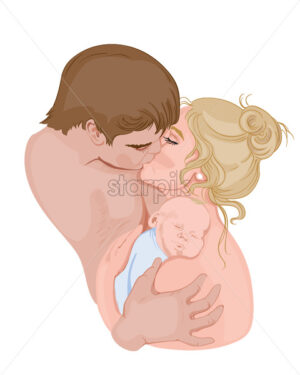 Father and mother kissing while hugging their kid. Colorful. Vector - Starpik Stock