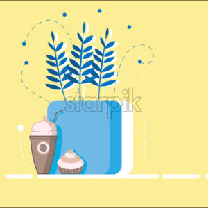 Flat style cup of coffee with whipped cream and cupcake. Blue flowers pot. Yellow background - Starpik Stock