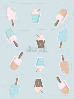 Flat style ice cream on stick and balls with spoon. Blue and rose background. Vector - Starpik Stock
