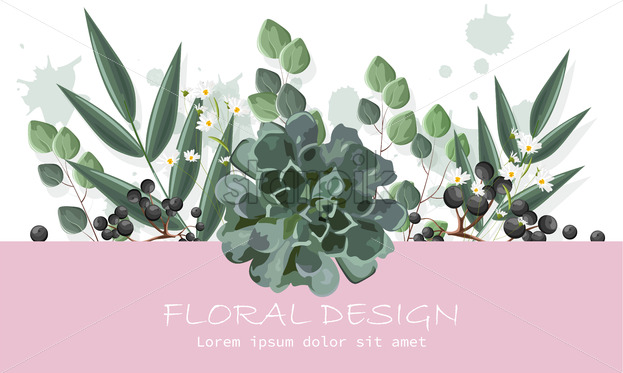 Floral design banner with berries and chamomile flowers. Place for text. Vector - Starpik Stock