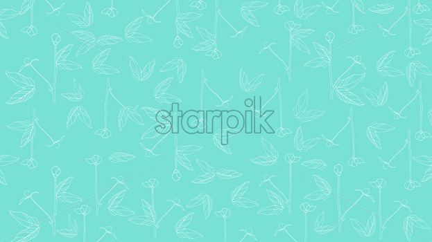 Flowers in blossom with leaves on turquoise background. Vector - Starpik Stock