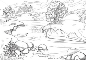 Flowing river with a empty boat in it surrounded by trees, rocks and grass, with a castle in background. Vector - Starpik Stock