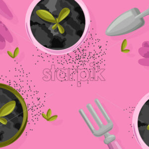 Gardening concept with rose gloves, shovel and rake. Flowers growing in the pot. Vibrant background. Vector - Starpik Stock