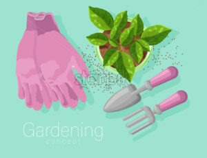Gardening concept with rose gloves, shovel and rake. Tea leaves growing in a pot. Vibrant baby blue background. Vector - Starpik Stock