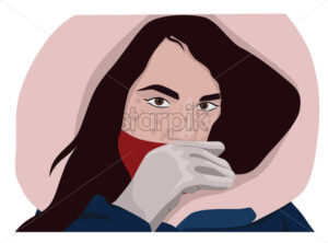 Girl with hood on her head posing. Drawing. Colorful. Vector - Starpik Stock
