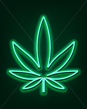 Green neon sign of marijuana leaves. Cannabis logo. Vector - Starpik Stock