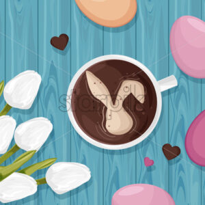 Happy Easter eggs decorations with white tulip flowers and coffee with bunny. Blue wooden background. Vector - Starpik Stock