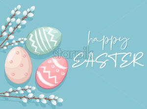 Happy Easter eggs with white catkins decorations. Vibrant colors with blue background. Place for text. Vector - Starpik Stock