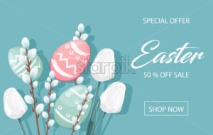 Happy Easter sale banner with eggs, white catkins and tulip flowers decorations. Vibrant colors with blue background. Place for text. Vector - Starpik Stock