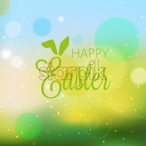 Happy easter abstract banner with blurry background and bokeh style lights. Green color. Vector - Starpik Stock