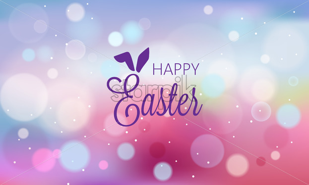 Happy easter abstract banner with blurry background and bokeh style shapes. Purple color. Vector - Starpik Stock