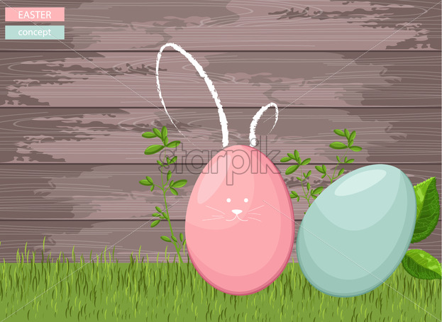 Happy easter colorful eggs on grass with wooden background. Green leaves growing. Vector - Starpik Stock