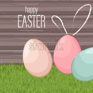 Happy easter colorful eggs on grass with wooden background. Vector - Starpik Stock