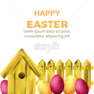 Happy easter composition with yellow bird house and colorful eggs. Watercolor vector - Starpik Stock
