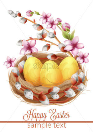 Happy easter eggs composition in a bird nest with flowers and catkins. Watercolor. Spring Vector - Starpik Stock