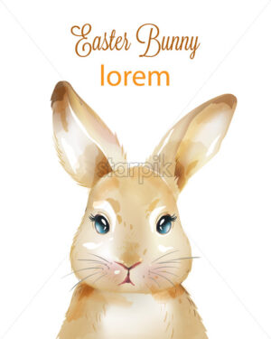 Happy easter watercolor bunny with ears up. Holiday animals. Vector - Starpik Stock