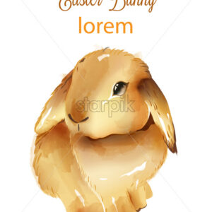Happy easter watercolor fluffy bunny with ears down. Holiday animals. Vector - Starpik Stock