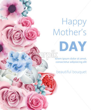 Happy mother's day composition with orchid, peony flowers, roses and berries. Watercolor Vector - Starpik Stock
