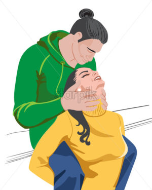 Happy young couple with colorful green and yellow clothes preparing to kiss. Vector - Starpik Stock