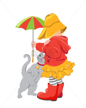 Kid in colorful red and yellow clothes playing with a cat outdoors. Holding umbrella. Vector - Starpik Stock