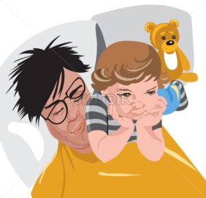 Kid laying on his fathers face while in bed, leaving his teddy bear to hang out behind on the pillow.Vector - Starpik Stock