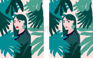 Lady with green earrings and outfit in a tropical forest full of leaves. Vector - Starpik Stock