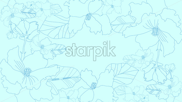 Lily Flowers with leaves on turquoise background. Vector - Starpik Stock