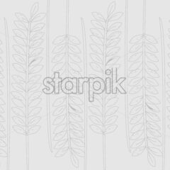Line art branches with leaves on gray background. Vector - Starpik Stock
