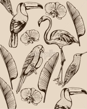 Line art composition of tropical animals and leaves. Flamingo, tucano bird, parrot and swallow. Vector - Starpik Stock