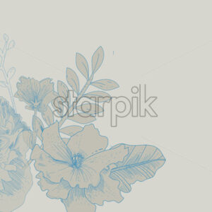 Line art lily flowers in red color on beige background. Vector - Starpik Stock