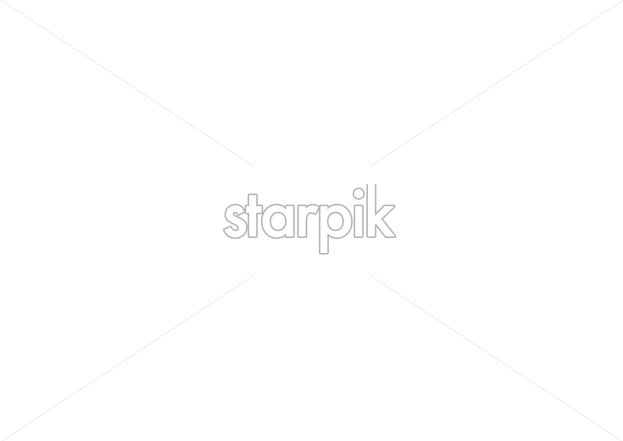 Line art lily flowers on branches with leaves. Place for text. Vector - Starpik Stock