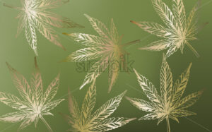 Line art marijuana cannabis leaves on green background. Vector - Starpik Stock