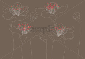 Line art outlined lily flowers with red carpels. Dark beige background. Vector - Starpik Stock