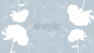 Line art peonies flowers on bright blue background. Vector - Starpik Stock